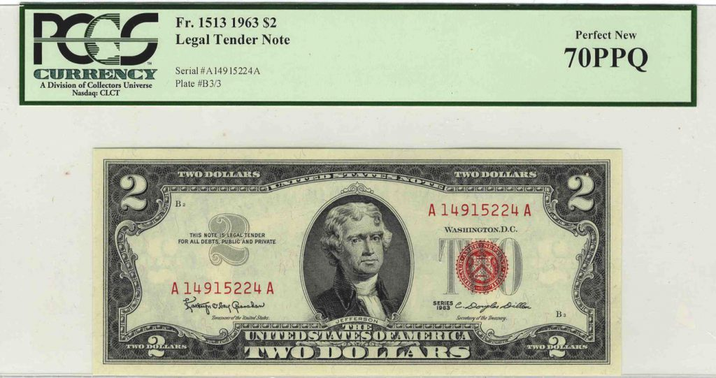 1963 $2 Red Seal Note Fr 1513 PCGS 70 PPQ