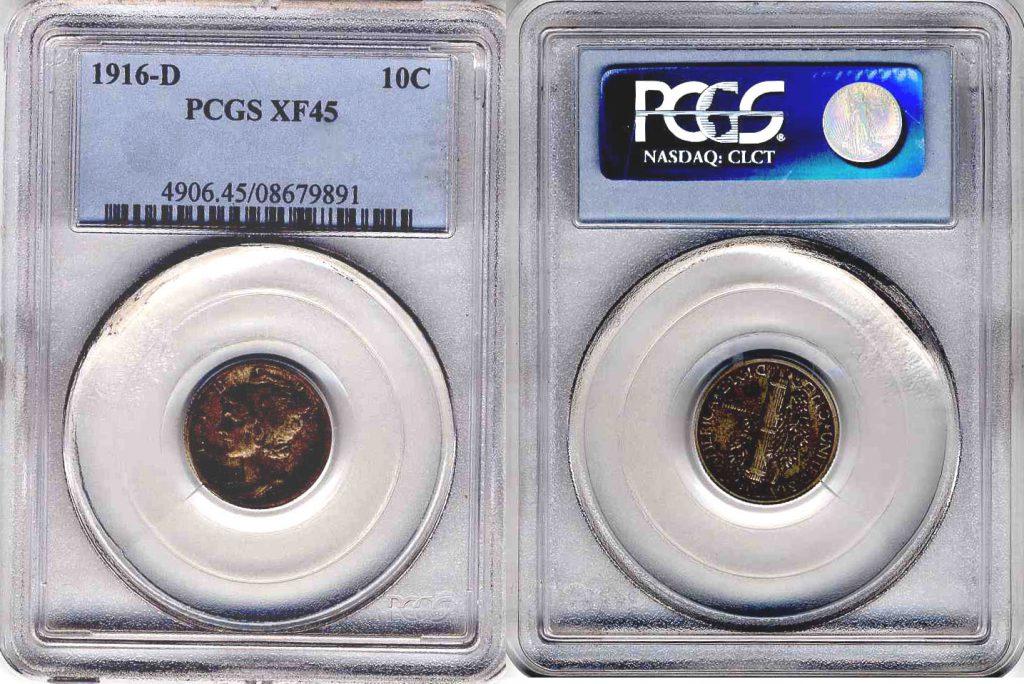 1916 D Mercury Dime 10c PCGS XF45