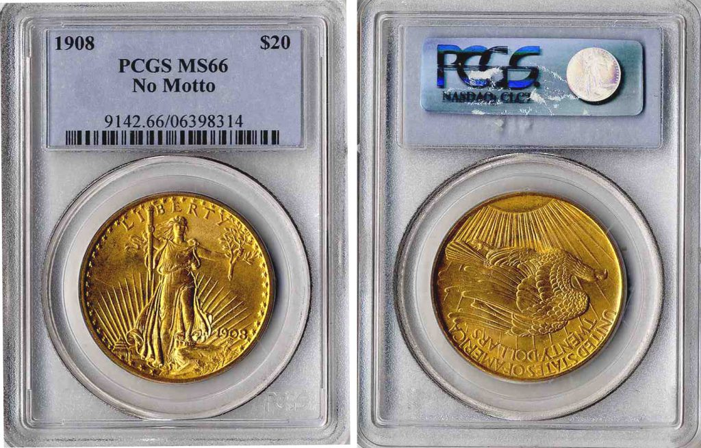 1908 St Gaudens $20 Gold Coin PCGS MS66