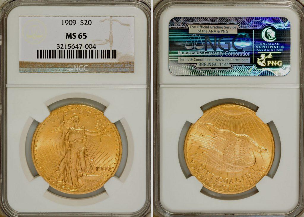 1909 Saint-Gaudens $20 NGC MS65