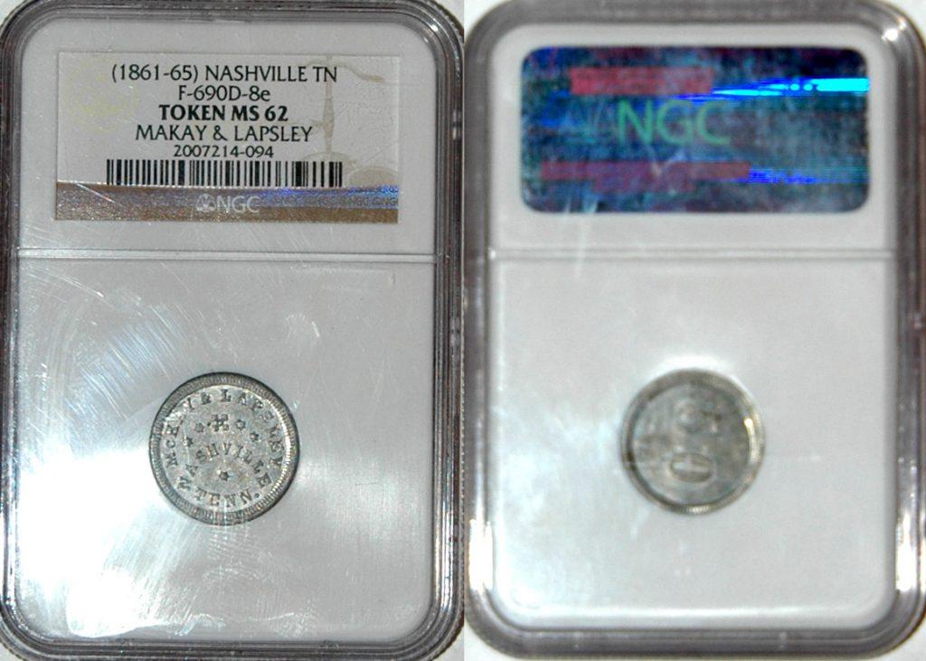 1861-65 Nashville TN F690D-8e token MS62