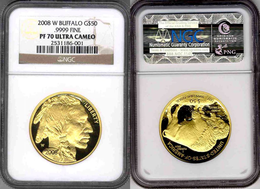 2008 W Buffalo Gold Coin $50 NGC PF70 Ultra Cameo