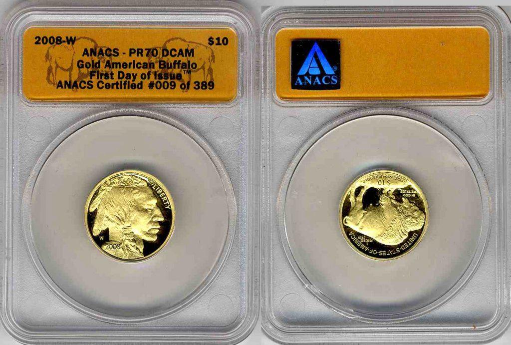 2008 W Buffalo Gold Coin $10 ANACS PR70 DCAM