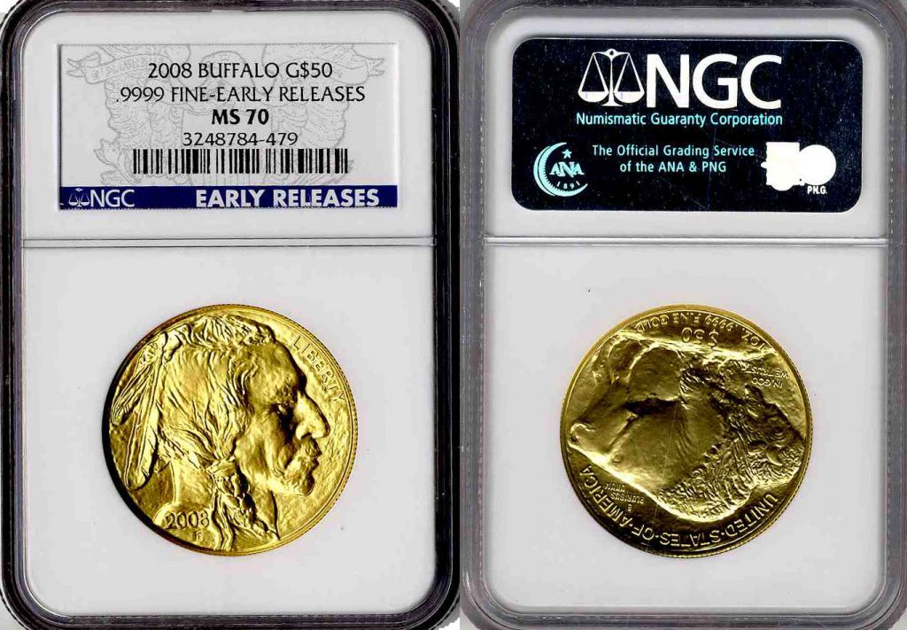 2008 W Buffalo Gold Coin $50 MS70 Early Release