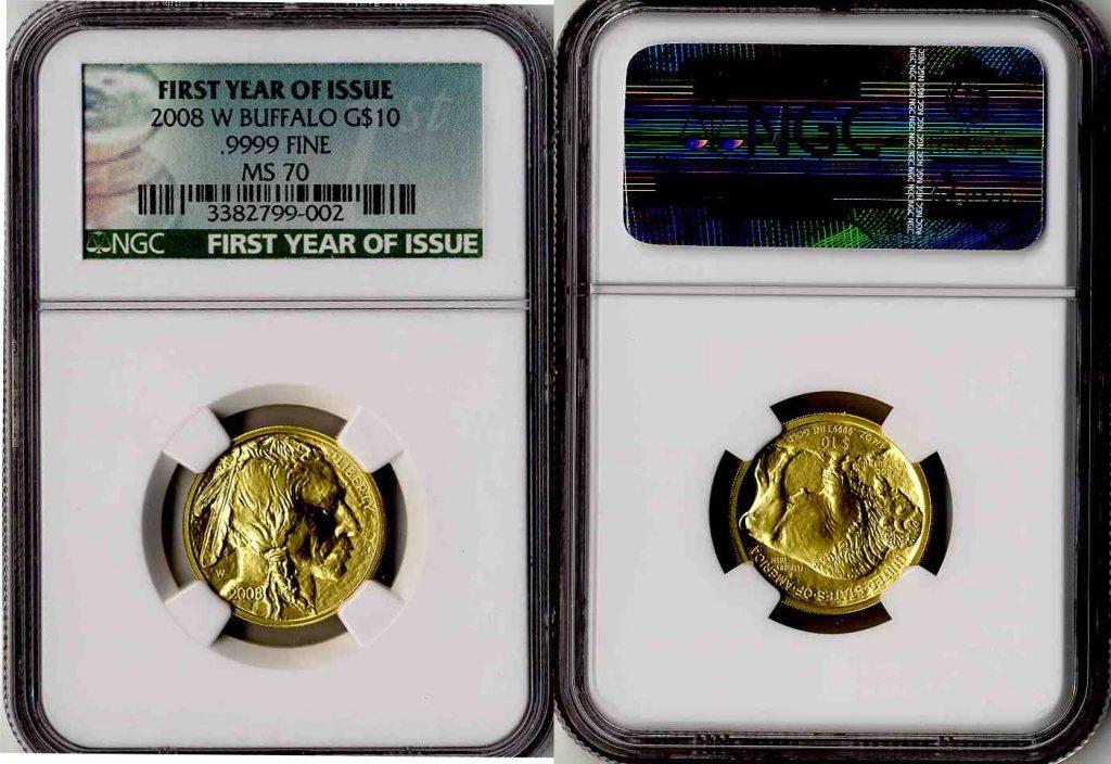 2008 W Buffalo Gold Coin $10 NGC MS70