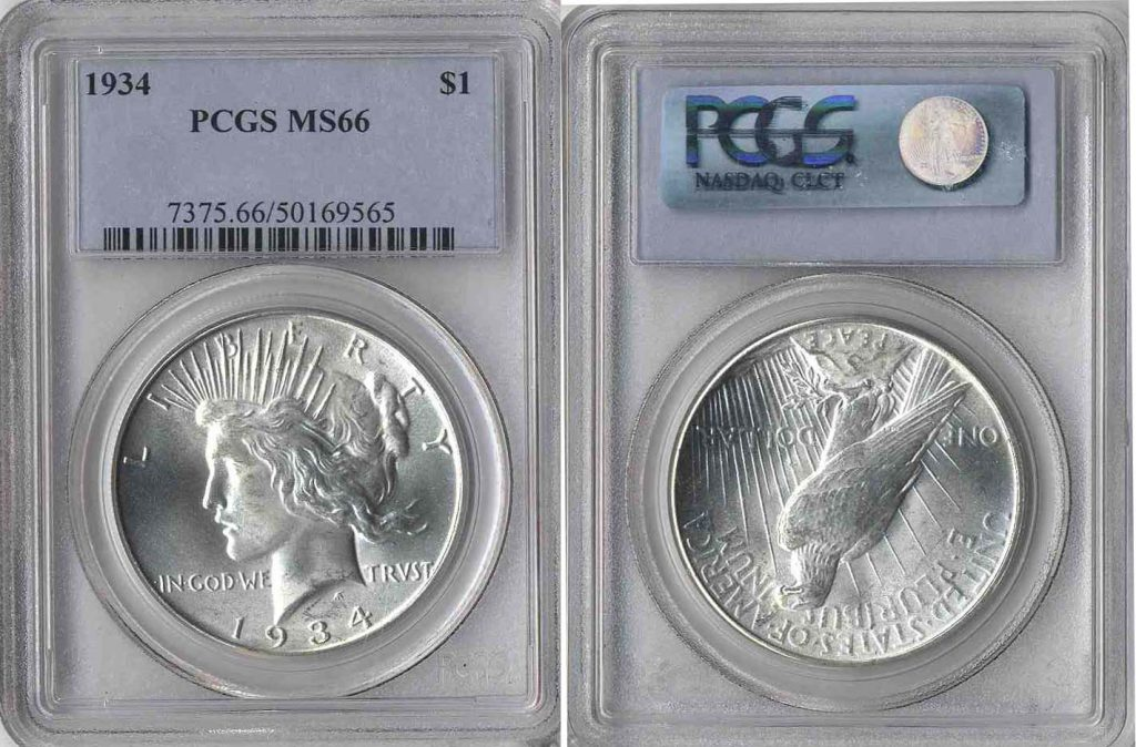 1934 Peace Dollar $1 PCGS MS66