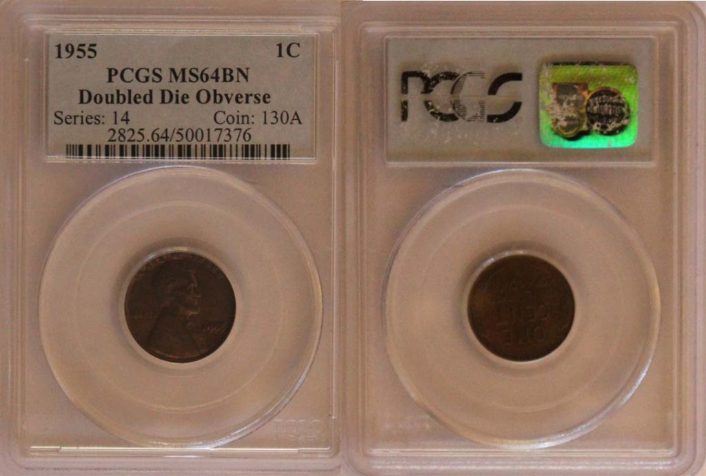1955 Double Die Lincoln Penny 1c PCGS MS 64 Brown