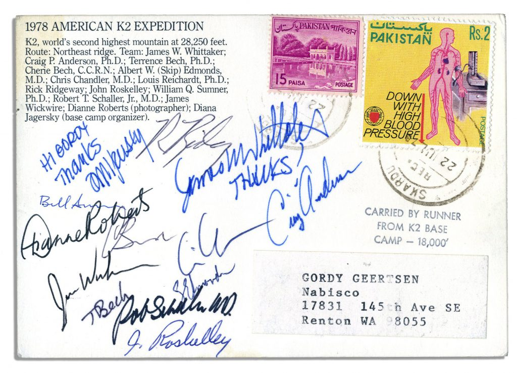 1978 K2 mountain team autographs