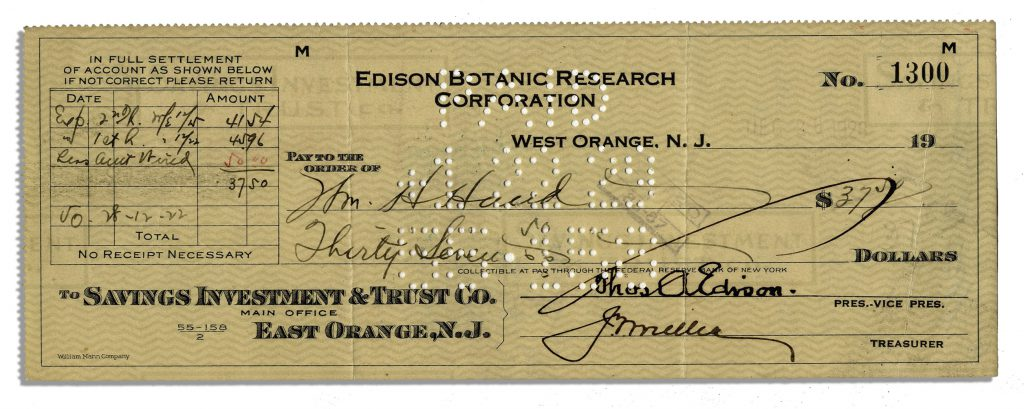 Thomas Edison check signed