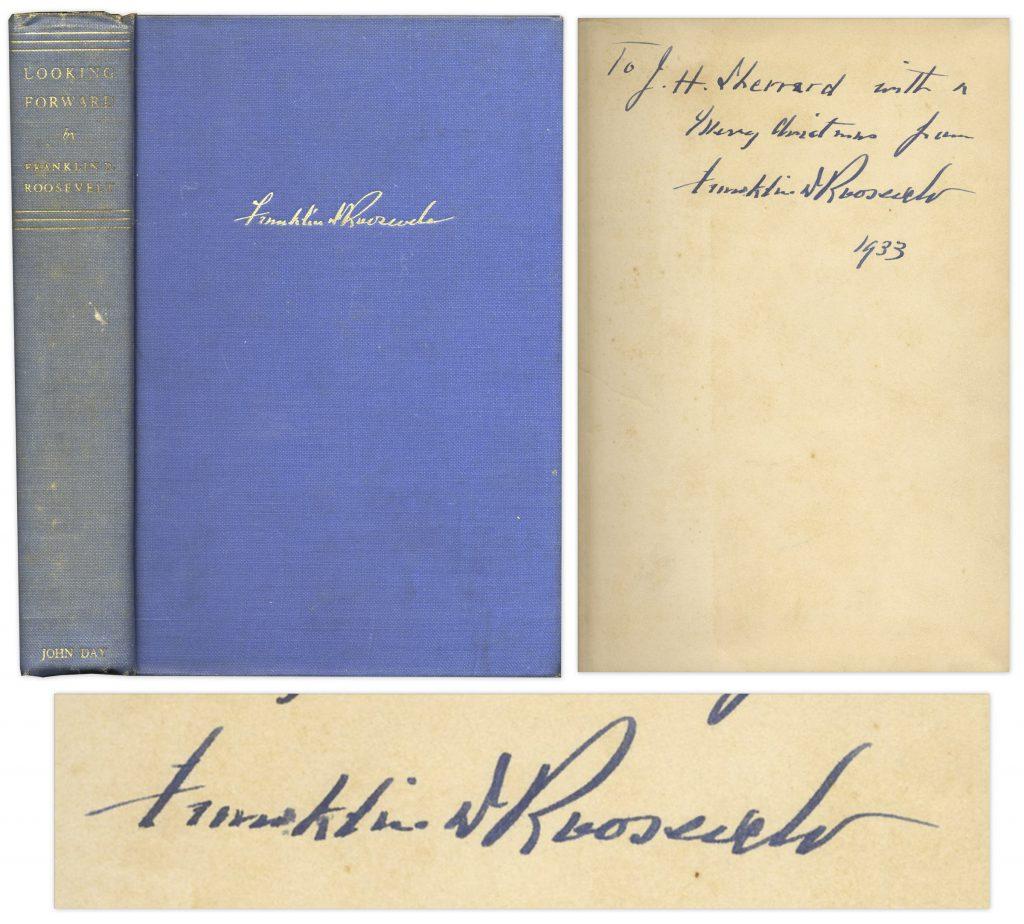Franklin D Roosevelt Looking Forward signed