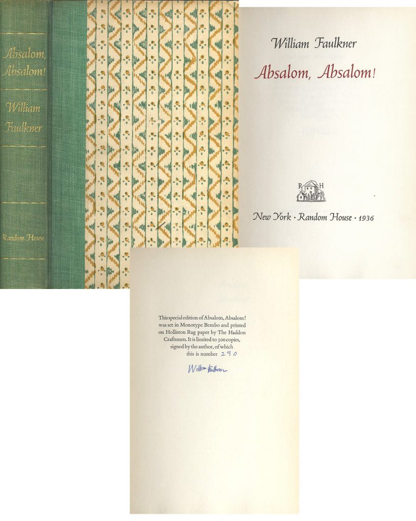 William Faulkner Absalom 1st edition