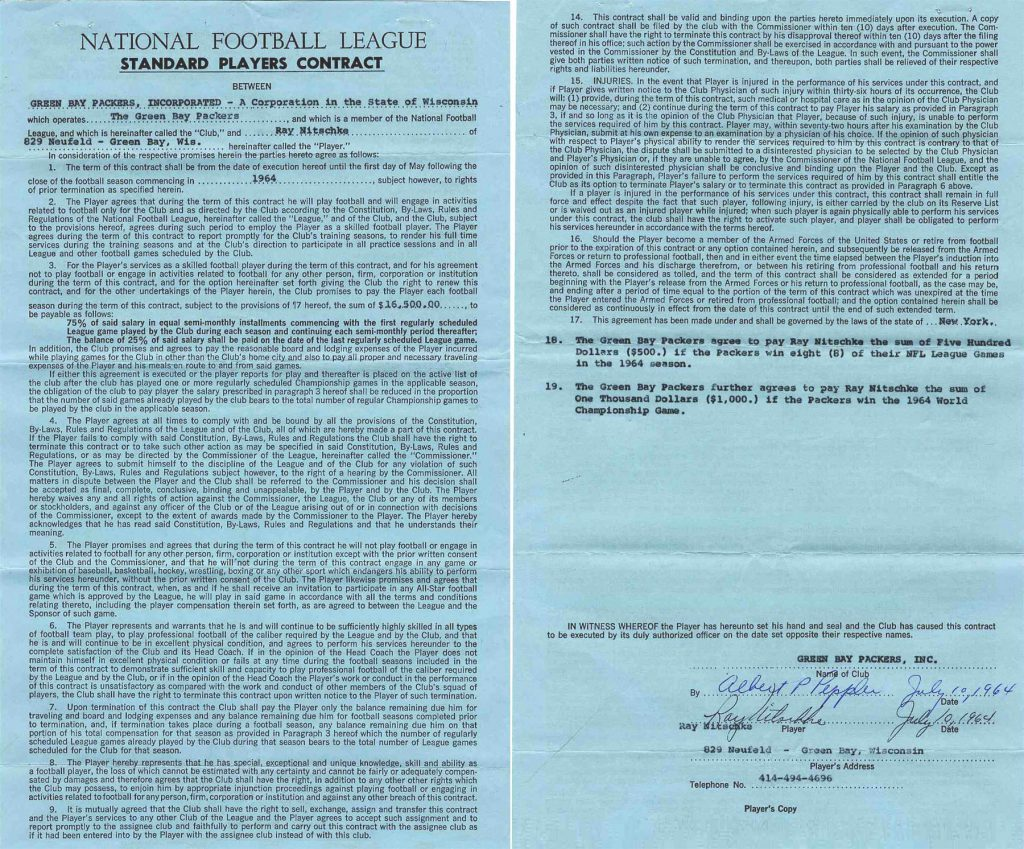Green Bay Packers Ray Nitschke contract signed