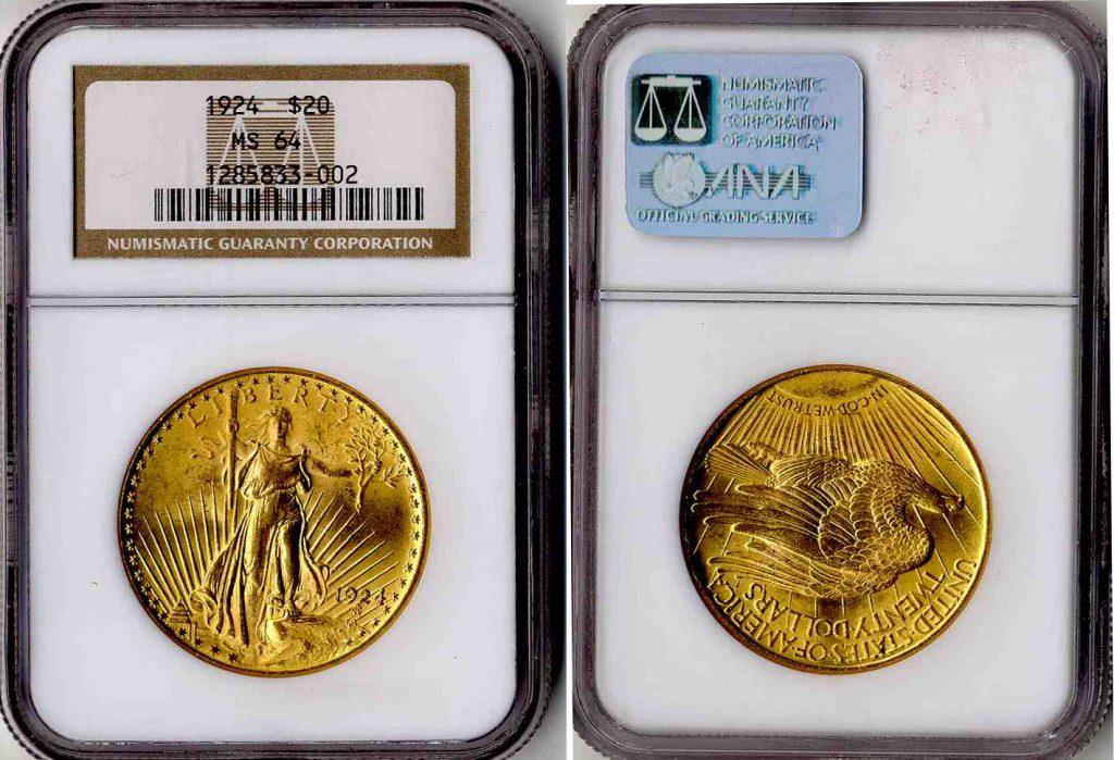 1924 $20 NGC MS64