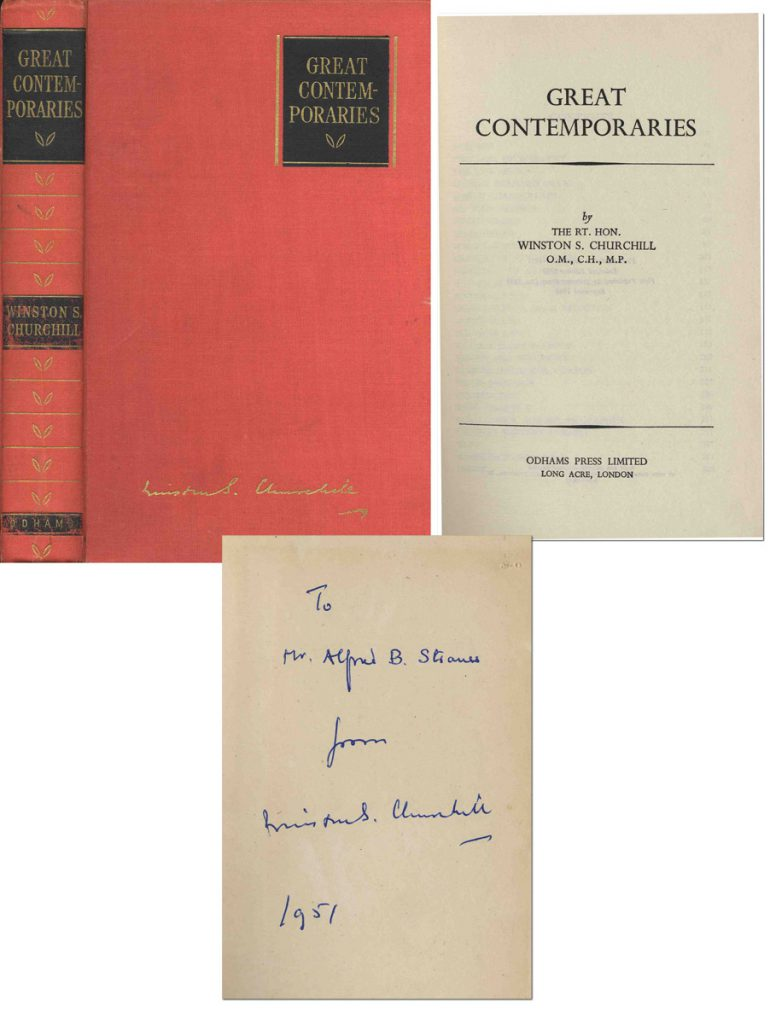 Winston Churchill Great Contemporaries signed book