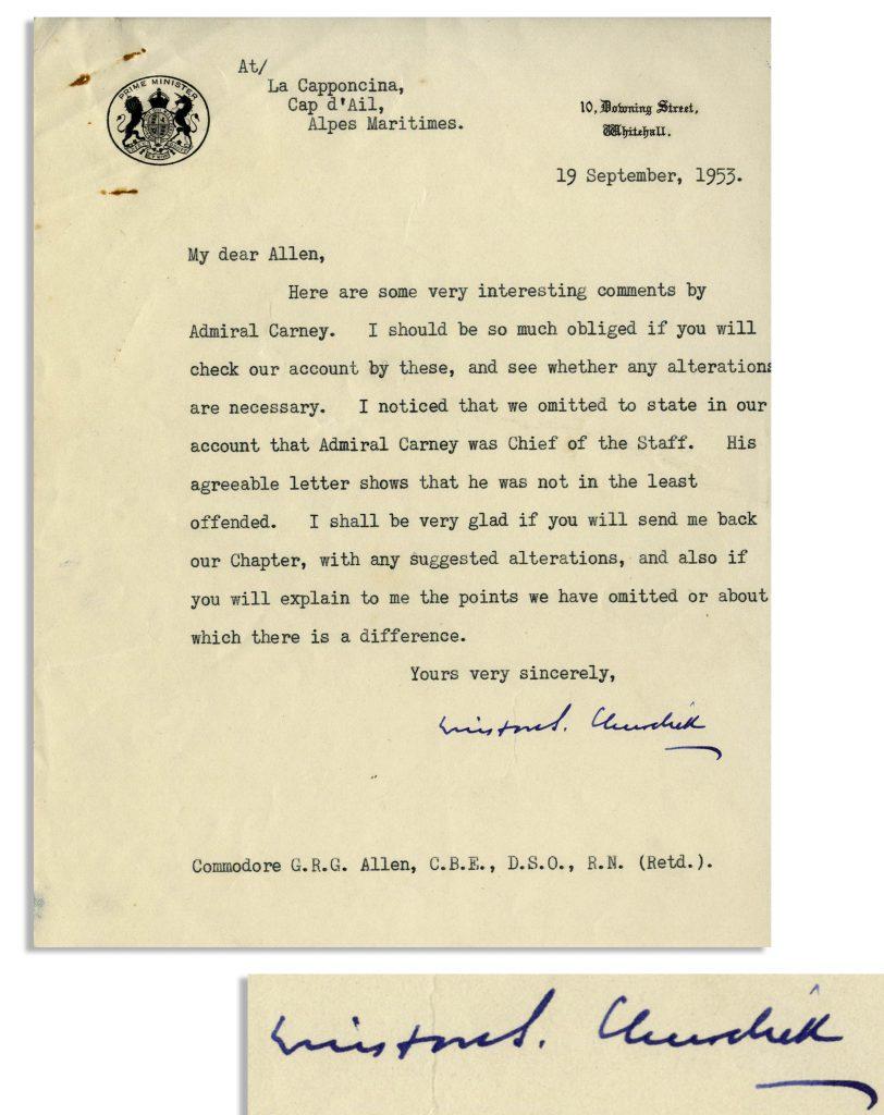 Winston Churchill Second World War signed book