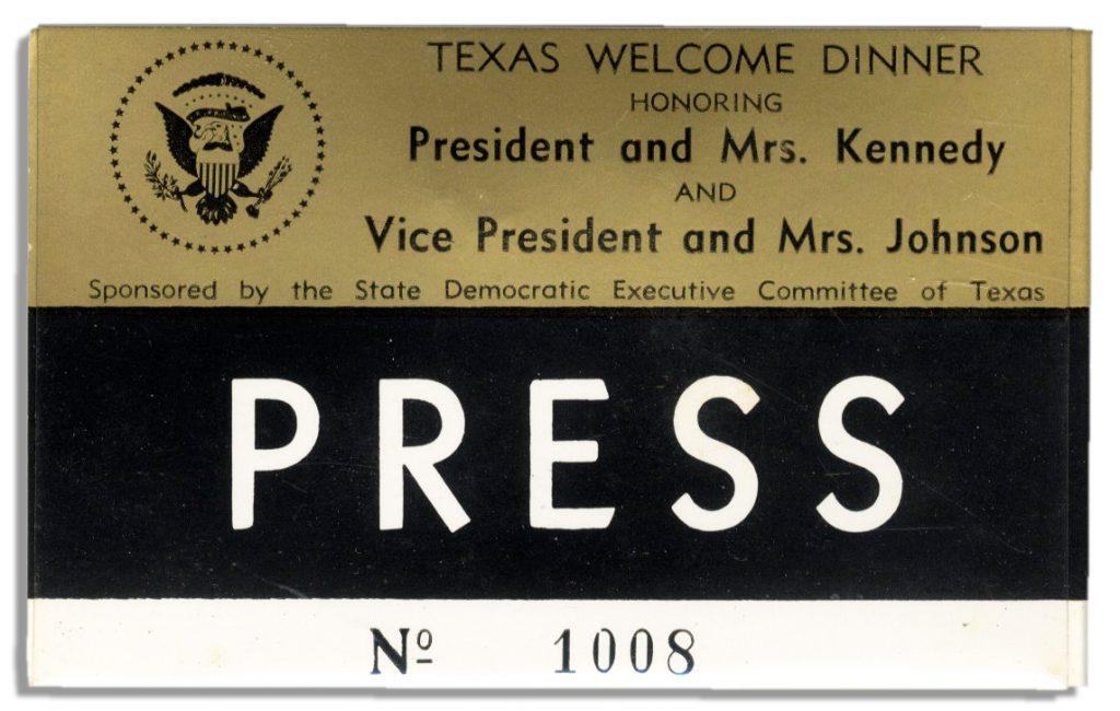 John F Kennedy Assassination Night Dinner Badge