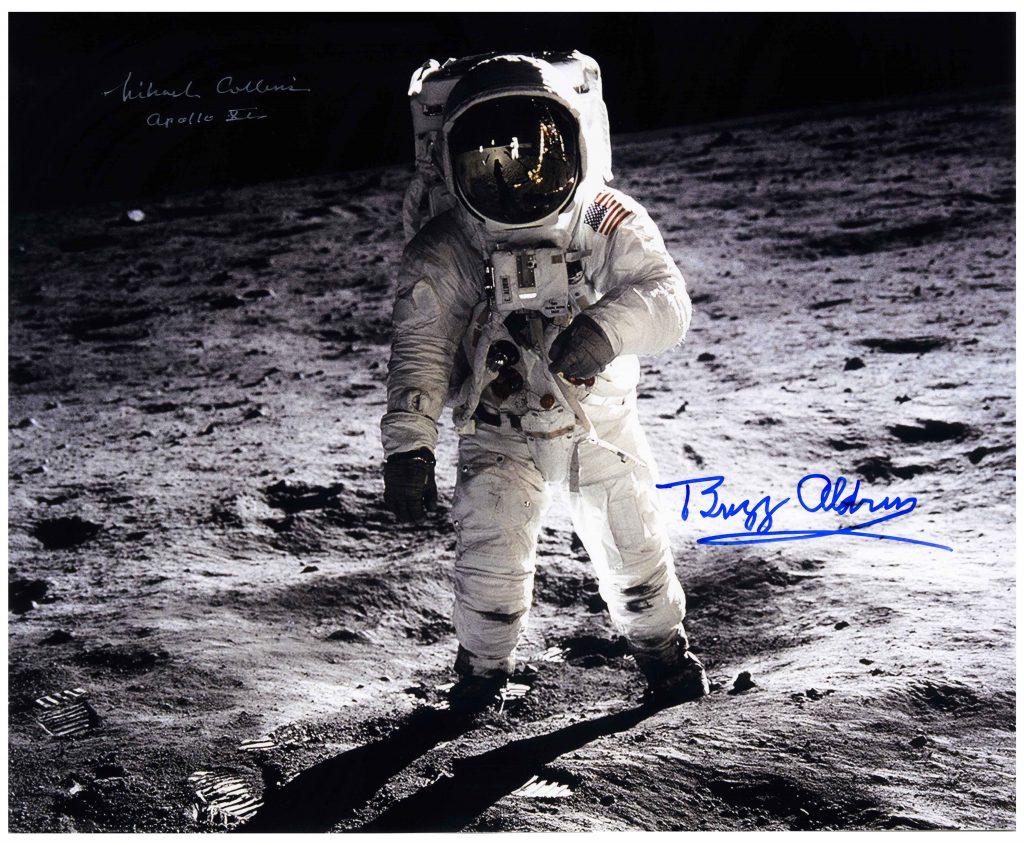 """Buzz Aldrin Michael Collins 16"""" x 20"""" Apollo 11 signed photo"""