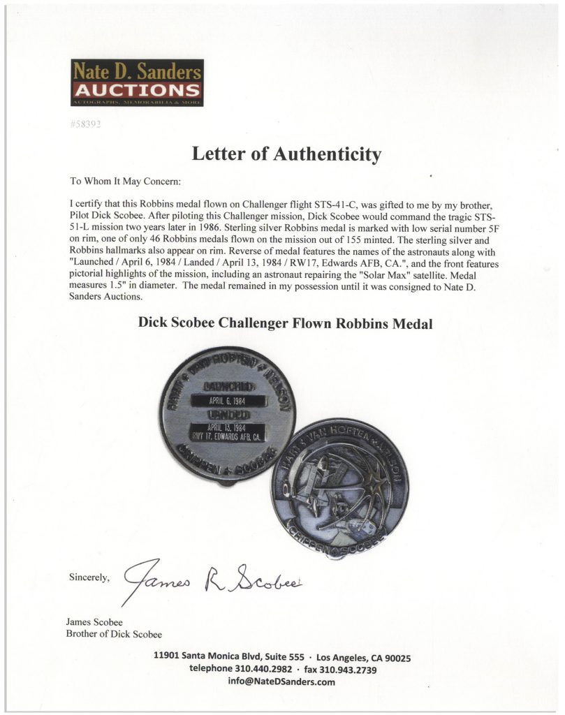 STS-41c Dick Scobee Robbins medal