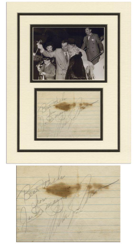 Joe Dimaggio and Marilyn Monroe autograph