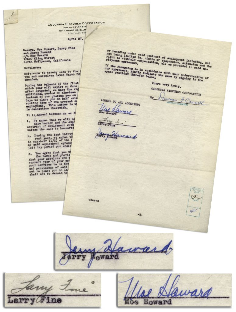 Three Stooges autograph contract signed