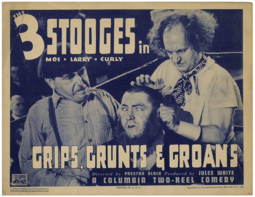 Three Stooges Grips Grunts & Groans lobby card
