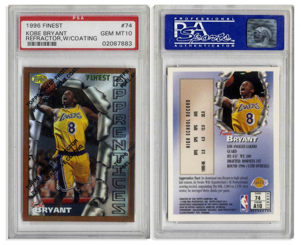 1996 Finest Refractor Coating Kobe Bryant #74 PSA 10